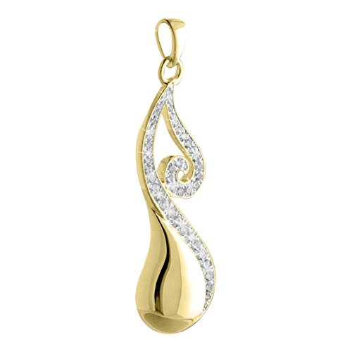Perfect Memorials Jazzy Teardrop 14k Gold Vermeil Cremation Jewelry Gold Vermeil Keepsake Urn