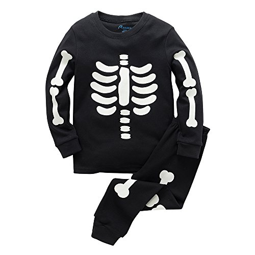 [B.GKAKA Costumes Glow-In-The-Dark Skeleton Toddler Boys Pajamas 2 Piece 100% Cotton Kids Clothes] (Glow Skeleton Costumes)