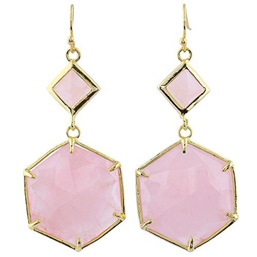 SUNYIK Rose Quartz Faceted Octagon Dangle Earrings for Women,Gold Plated