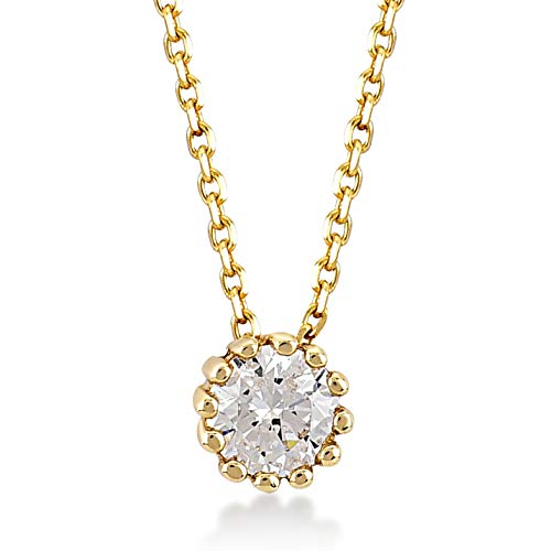 Gelin 14k Yellow Gold Simple Round Solitaire Cubic Zirconia Pendant Necklace for women, 18 inc
