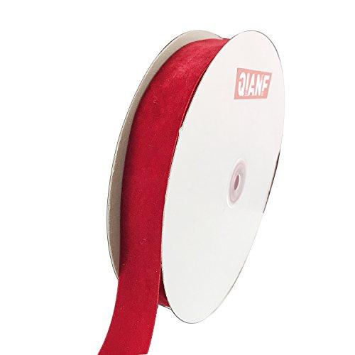 QIANF Vintage Red Velvet Ribbon, 1