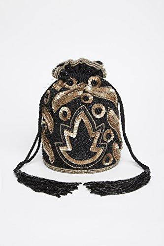 Vintage Hand Bag Vegas Embellished Inspired Bucket Black in Gold dfHqqac