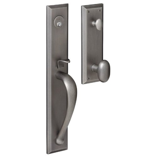 Baldwin 6403452ENTR Distressed Antique Nickel Images, Cody Cody Style Full Escutcheon Single Cylinder Handleset with Interior Oval Knob 6403.ENTR ()