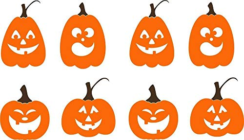 N.SunForest Pumpkins with Faces Halloween Fall Decor Vinyl Decal Wall Stickers Letters Words ()
