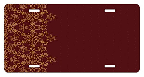 Burgundy License Plate by Lunarable, Snowflake Border Ornate Old Fashioned Motifs Winter Christmas Inspiration, High Gloss Aluminum Novelty Plate, 5.88 L X 11.88 W Inches, Burgundy Mustard