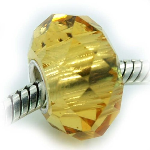 Pro Jewelry Silver Faceted Murano Glass Charm Bead for Snake Chain Charm Bracelets (Gold Yellow Topaz) (Glass Yellow Gold Chains Bracelets)