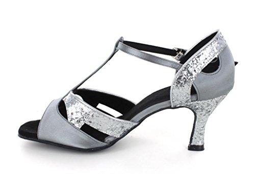 ... Tda Kvinners Klassisk Komfort Skinnende Glans Sateng Salsa Tango  Ballroom Latin T-stropp Danse Sandaler ...