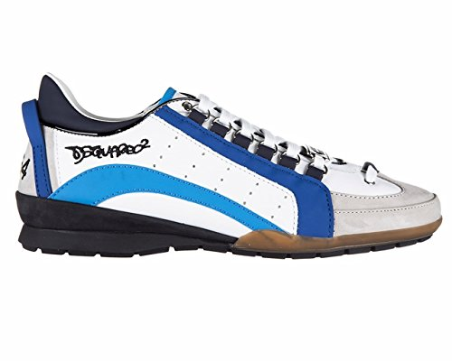 Dsquared2 scarpe sneakers uomo in pelle nuove 551 vitello sport bianco Blu