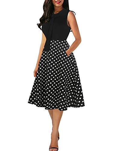 - oxiuly Women's Vintage Bow Tie V-Neck Pockets Casual Work Party Cocktail Swing A-line Dresses OX278 (L, Black Dot PT)