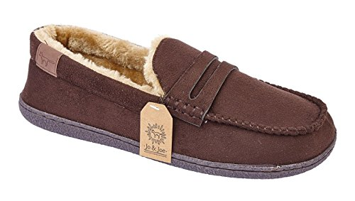 KOLLACHE Mens Faux Suede Leather Moccasin Slippers Loafers Casual Shoes Brown 6MImYkP