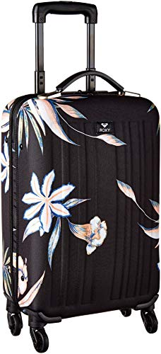 Roxy Junior's Stay True Carry On Roller Bag, true black delicate flowers, One - On Roxy Carry