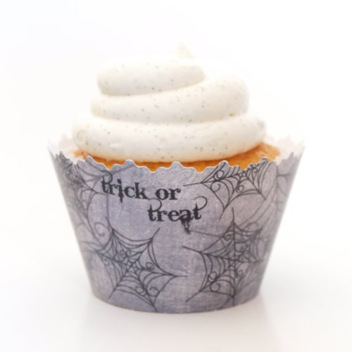 Cupcake Wrappers Autumn/Fall and Halloween Designs - Set of 12 (Trick or Treat Spiderweb Black Cupcake Wrapper)