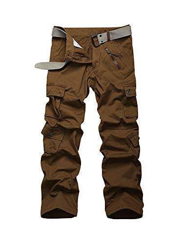 OCHENTA Men's Cargo Work Pants, 8 Pockets Casual Military Combat Tactical Trousers