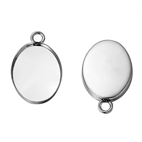(HooAMI 10pcs Silver Tone Pendant Trays Oval Pendant Blanks Cameo Bezel Cabochon Settings 16.5mmx10.5mm)