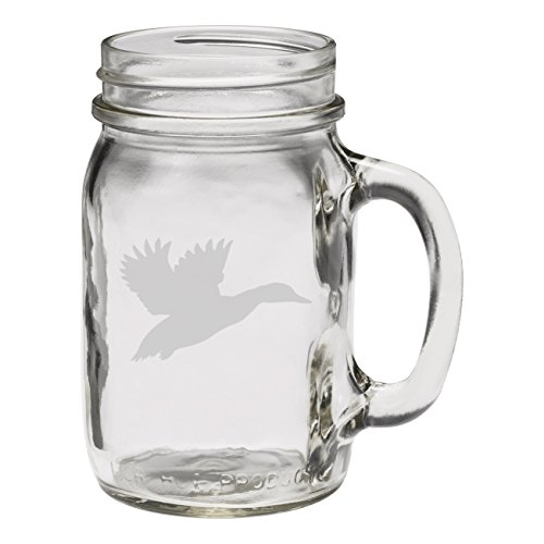 Flying Duck Hunter's 12 oz Hand Etched Glass Mason Jar - Etched Duck Glass