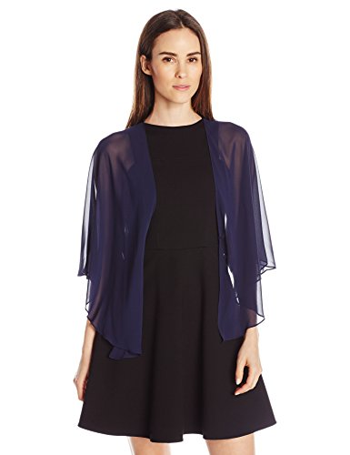 S.L. Fashions Women's Poly Chiffon Shrug Jacket, Navy, (Poly Chiffon Dresses)