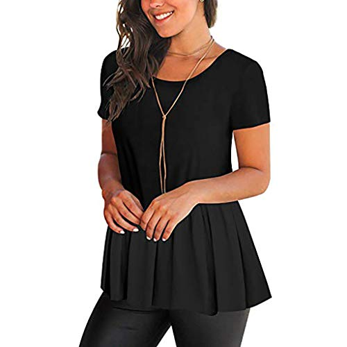 RAINED-Women's Shirts Casual Pleated Blouse Short Sleeve Ruffle Tunic Tops Solid Color Fit Flare Hem T Shirt Tunic Top Black