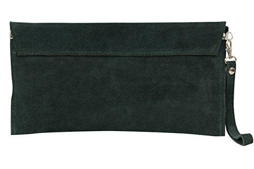 AMBRA Moda Mujer ante Envelope Clutch correa de mano bolso hombro Antebrazo bolso para mujer de piel de velour wl801 verde oscuro