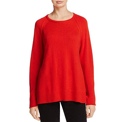 Eileen Fisher Womens Merino Wool Long Sleeves Pullover Sweater Red S