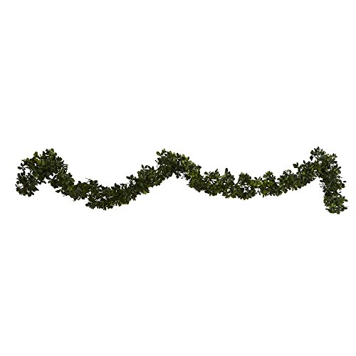 Nearly Natural Artificial 6' Boxwood Garland (Indoor/Outdoor), Set of 4, Green, 4 Piece