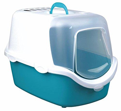 Trixie Vico Easy Clean Bac à Litière pour Chat Aigue-Marine/Blanc 40 × 40 × 56 cm 4011905403458