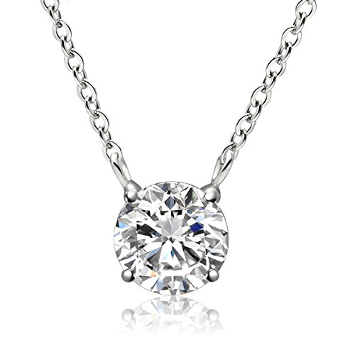 Cat Eye Jewels S925 Sterling Silver 3.25 Carat Birthstone Solitaire Pendant Necklace April Clear Crystal - Graduated Crystal Necklace Round