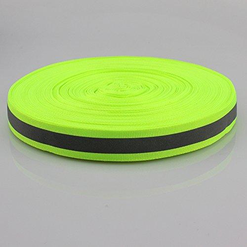 Sivler Reflective Fabric Strip Trim Webbing Sew On Green 20mm x 45m by JINBING