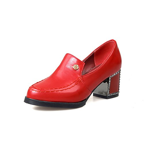 VogueZone009 Women's Round Closed Toe Kitten Heels Soft Material Solid Pull On Pumps-Shoes Red b1jY3hXuQ
