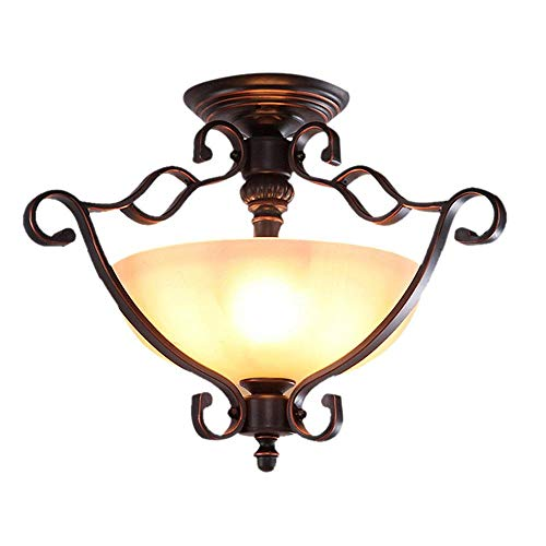 XAJGW 3 Light Antique Brass and Glass Semi Flush Ceiling Light ()