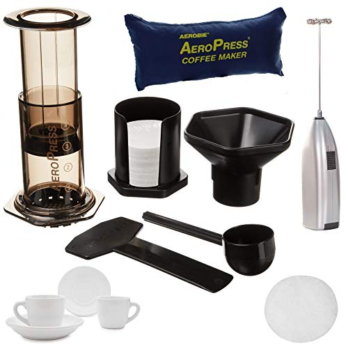 AeroPress Coffee and Espresso Maker Includes Tote Bag, Extra 350 Micro Filters, Espresso Cup and Frother