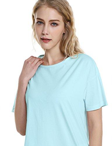 ZAN.STYLE Women's Plus Size Slub Cotton Tunic Tee Shirt Long T Shirt for Leggings Medium Style 2-Light Blue by ZAN.STYLE (Image #3)