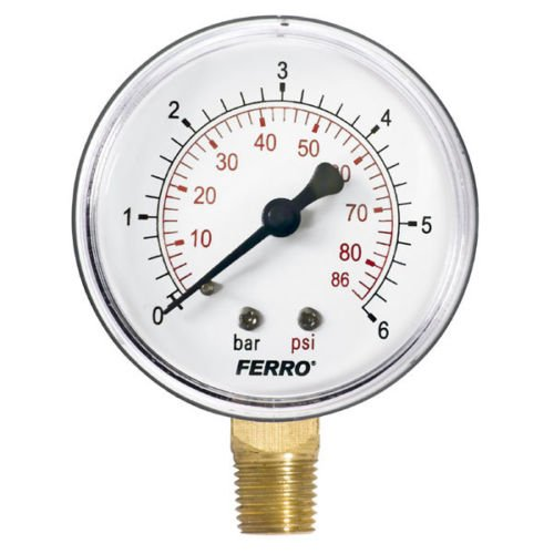 "Ferro Industrial 63mm Hydraulic Pressure Gauge Manometer 6 bar vertical 1/4"" BFG"