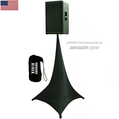 Amazin Gear SKRIMS Tripod Speaker Stand Stretch Cover, Triple Sided, Scrim 360, Black Spandex DJ Skirt with 3-Sides +FREE Bag, (SKRIMS-3B)
