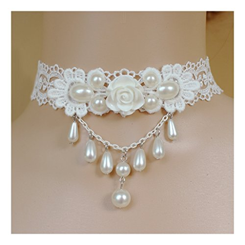White Flower Beads Pendant Popular Girl Gothic Lolita Braided White Lace Choker Necklace - Popular White Flowers