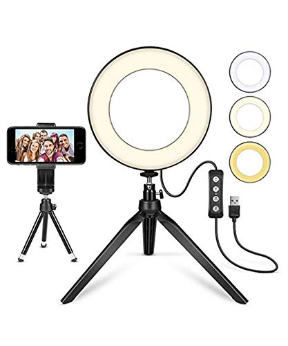 Yirind LED Ring Light 6.3' with Tripod for YouTube Video and Makeup, Mini LED Camera Light LED Lamp with 3 Light Modes,Fill Light+Desktop Stand