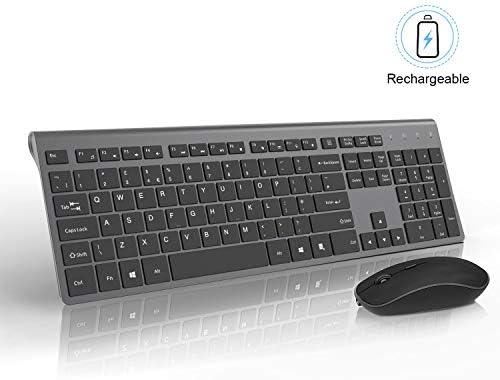 J JOYACCESS Teclado inalámbrico inalámbrico inalámbrico y mouse inalámbrico recargable con baterías de 500 mAh, portátil delgado, 2.4 GHz, silencioso ratón ergonómico para PC, portátil, Smart TV, juegos, color gris: Amazon.es: Electrónica