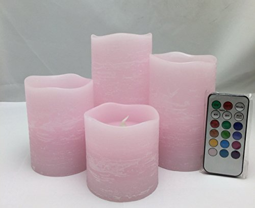 Valentine Pink rustic Pillar candles gift set-Multi Function Remote