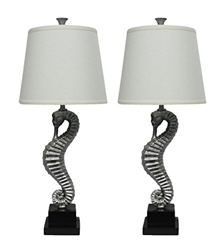 Urbanest Set of 2 Seahorse Table Lamps, Antique Silver ()