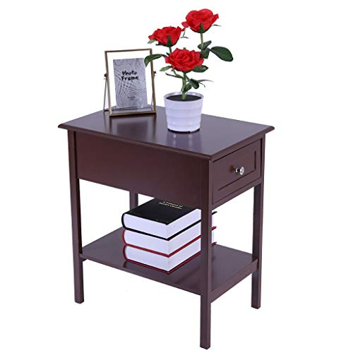 XGao Nightstand Side Table Wooden Bedside Tables with Sliding Storage Drawers Assemble End Table Storage Cabinet Bedside Locker for Living Room Bedroom Kid's Room Storage Accent Home Funiture (Brown)