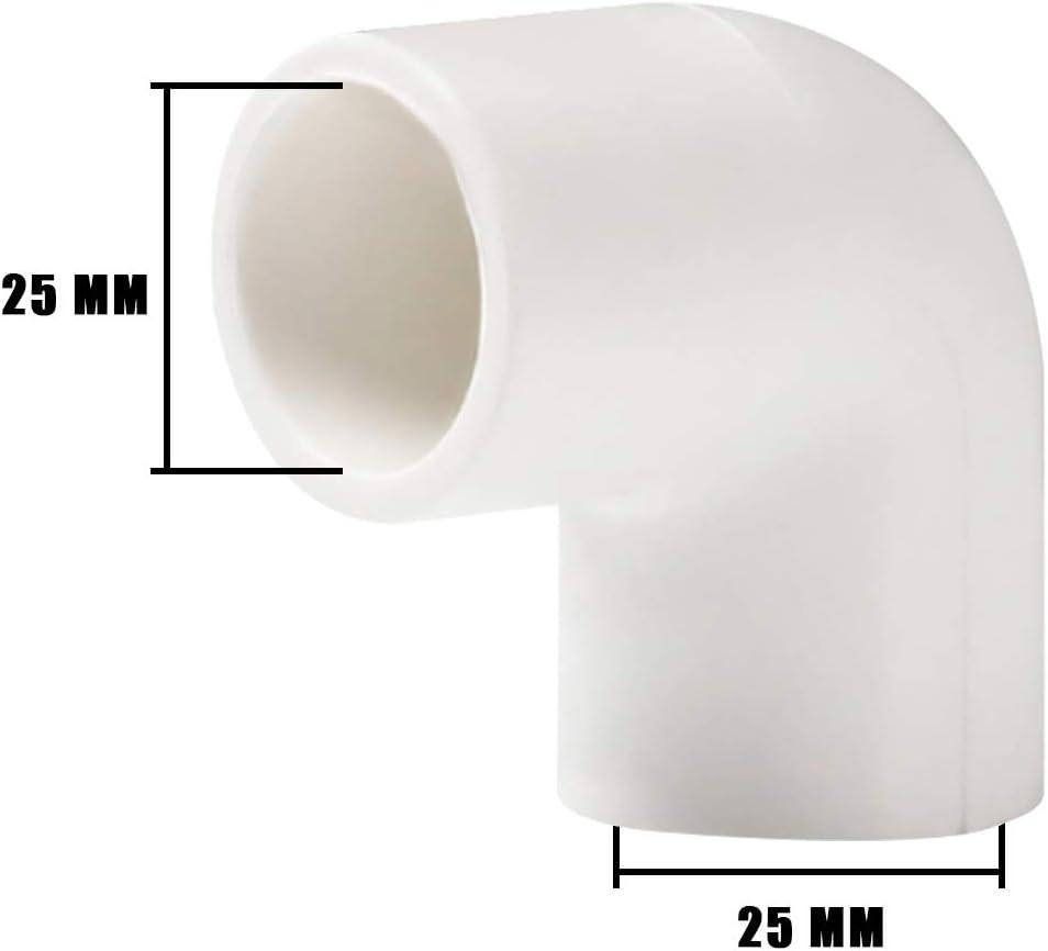 Cinta de plomer/ía Conector de Tuber/ía de 3 tama/ños YOFASEN Kit de Accesorios de Tubo PVC de Plomer/ía de 6 Piezas Conectores de Codo de 90 Grados para Tuber/ía de Agua