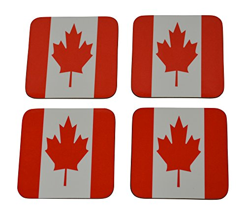 Canada Flag Drink Coaster Set Gift For Canadians Maple Leaf Home Kitchen Bar - Flag Canada Coaster