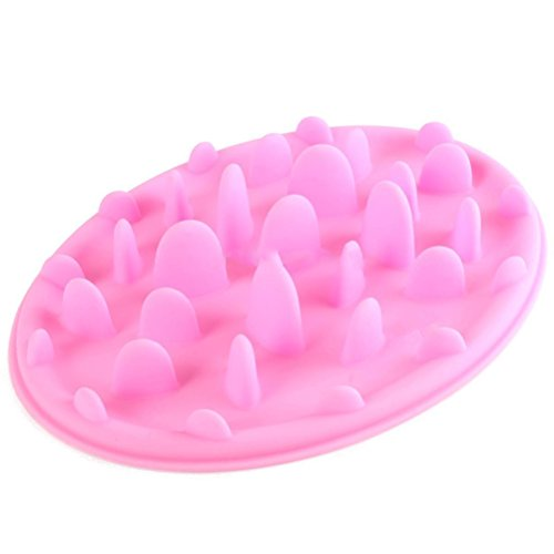 UEETEK Pet Dog Cat Food Bowl Slow Feeder Anti Choke Feed Dish Size S (Pink)