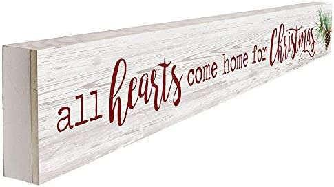 Graham Dunn All Hearts Come Home for Christmas Rosy Red 6.5 x 4.5 Wood Christmas Pallet Sign P