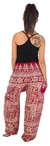 1 Del Pantalones Borgoña Boho Flaral Pavo Mujer Harem Real Lofbaz Lazo Funky I7v5AwqxnS