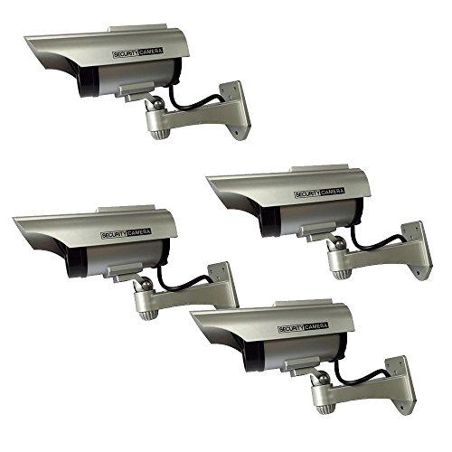 Henxlco 4Pack Dummy Solar Security Camera Fake Flashing Light