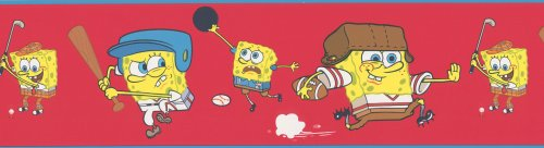Brewster 147B00980 Nickelodeon SpongeBob Sports Red Wall Border