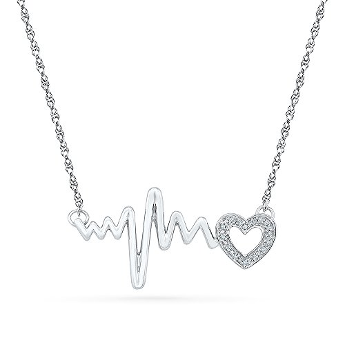 Sterling Silver White Round Diamond HeartBeat necklace (0.03 Cttw)