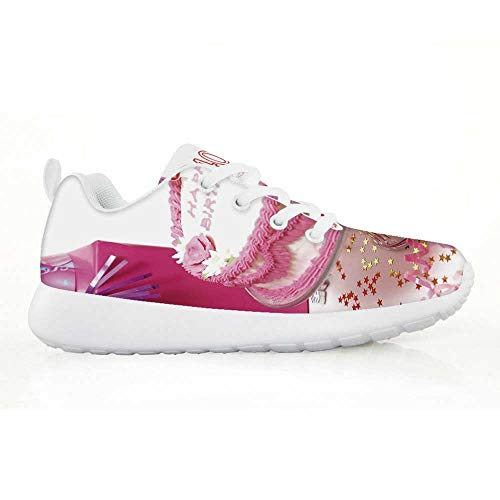 40th Birthday Decorations Comfortable Running Shoes,Pink Cream Cake with Candlesticks Present Surprise Party for Kids Boys,EU31