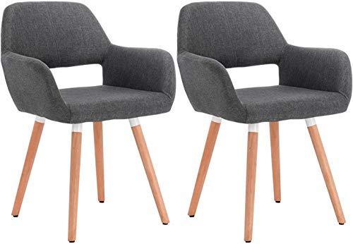 HYLMM Gris Oscuro Juegos de Cocina presidentes de Las sillas de Sala de 2 sillas de la Cocina de Oficina con Respaldo y reposabrazos Stay Bano,Gris Oscuro