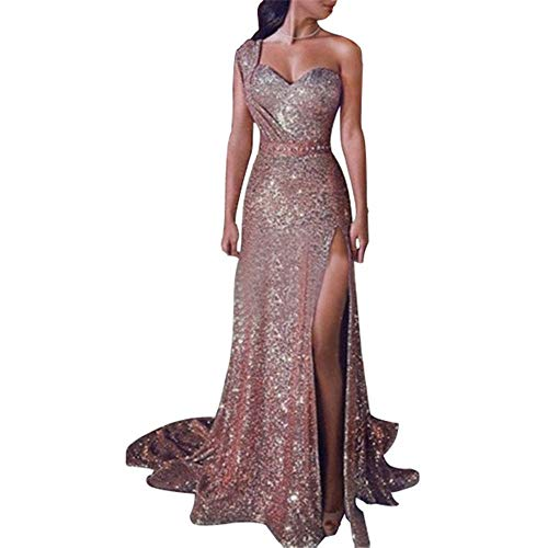 Women's Evening Dress, Sequined Evening Gown, Maxi Fishtail Dress, one Shoulder Dress,Slit Dress (Rose Gold, XXXXL)